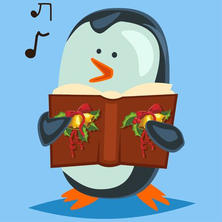 Penguin singing Christmas carols. Vector cartoon character isolated on background.