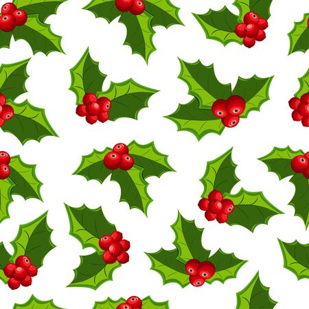 Christmas red mistletoe seamless pattern on a white background. Vector texture for your design.