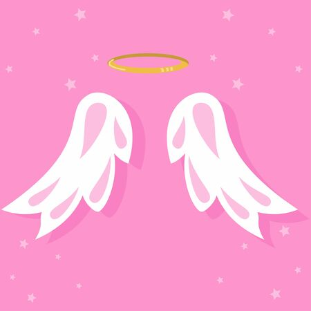 Angel wings and nimbus. Vector icon.