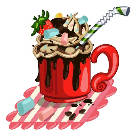 Hot chocolate with whipped cream, marshmallows, strawberries and cocktail drinking straws. Vector cartoon illustration on a white background.