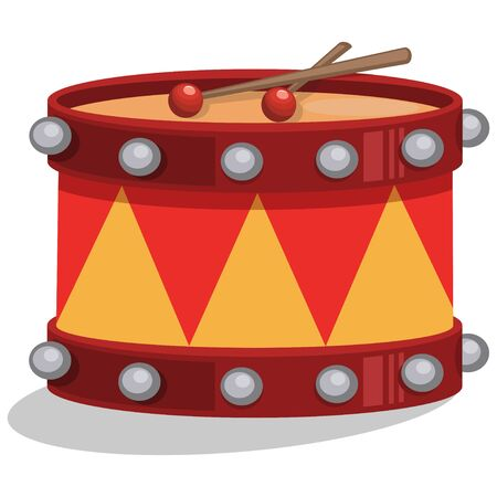 Drum with sticks. Vector cartoon illustration isolated on white background.