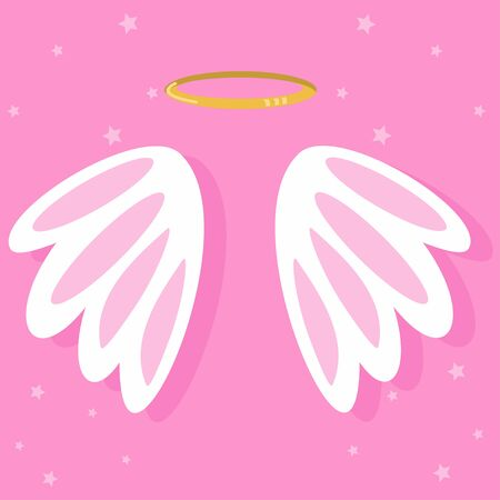 Cute cartoon angel wings. Vector illustration on pink background.