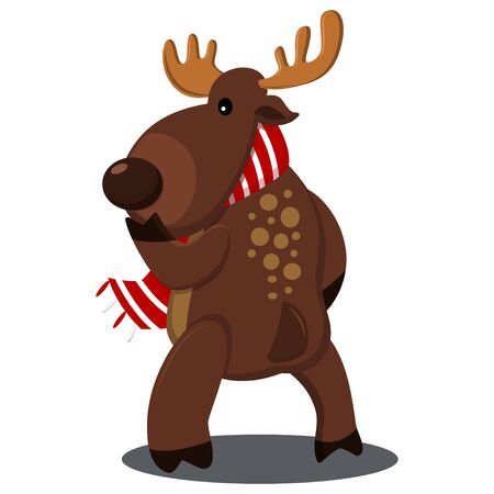Christmas reindeer in scarf. Vector cartoon illustration for holidays isolated on a white background.