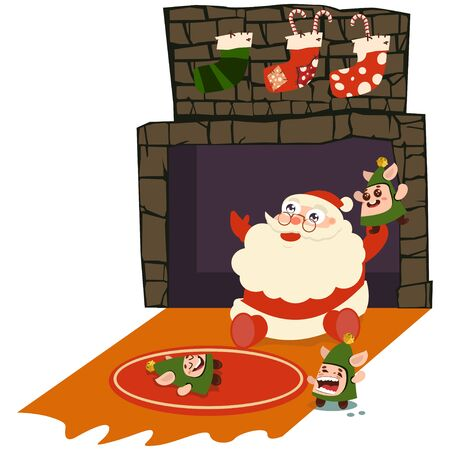 Santa Claus sits at the fireplace, along with the elves. Vector cartoon character isolated on a white background.
