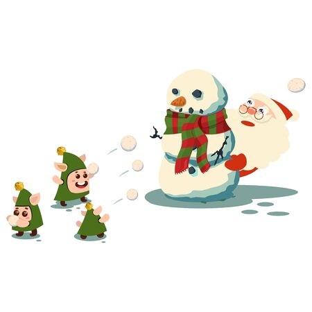 Santa Claus is hiding behind a snowman and cute elves throw snowballs. Vector cartoon character isolated on a white background. Ilustração