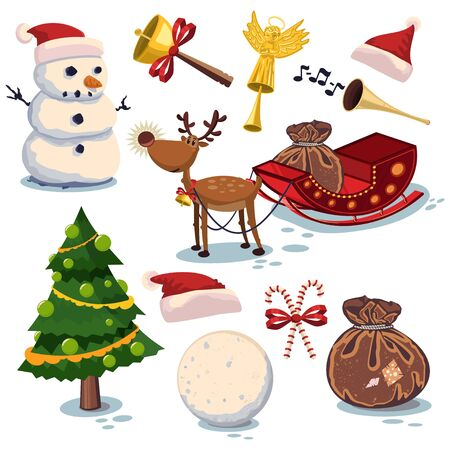 Christmas elements set. Symbols for holiday decorations. Vector cartoon icons isolated on white background.