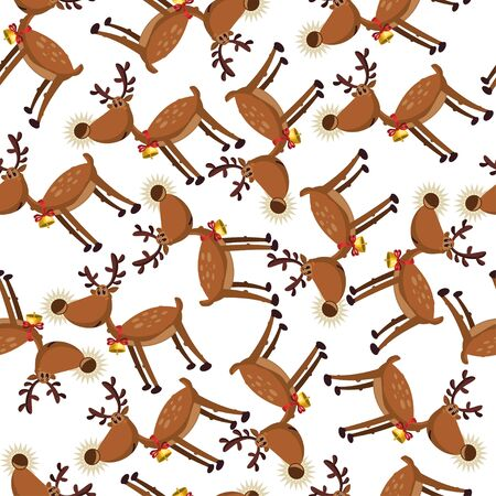 Cute cartoon reindeer seamless pattern on a white background. Vector holiday wallpaper, texture, ornament etc.  イラスト・ベクター素材