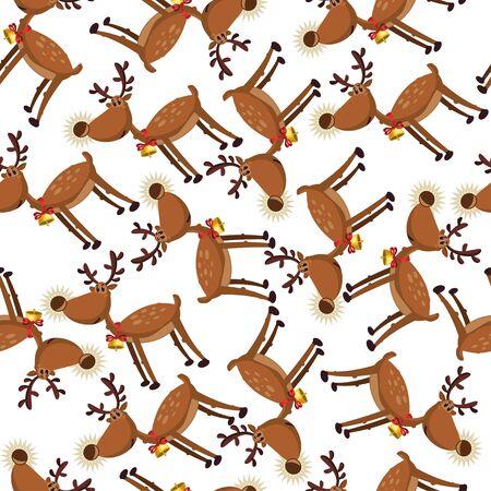 Cute cartoon reindeer seamless pattern on a white background. Vector holiday wallpaper, texture, ornament etc. Ilustração