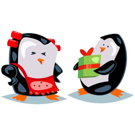 Cute cartoon penguin gives gift. Vector character isolated on a white background. Ilustração