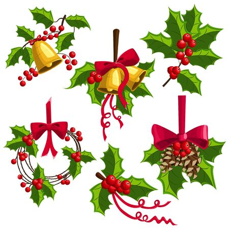 Holly berry Christmas decoration with bells, bow and pine cones. Vector cartoon icon set isolated on white background.