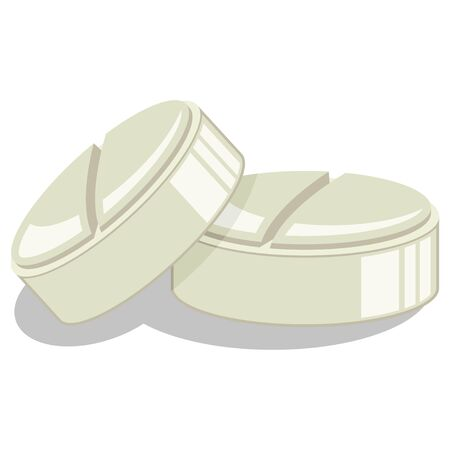 Pills vector cartoon illustration isolated on white background. Ilustração