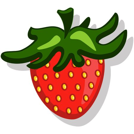 Cute strawberry vector cartoon illustration isolated on white background.