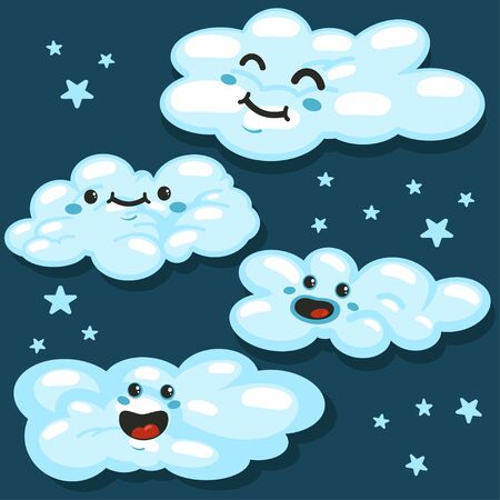 Cute fluffy clouds with different emotions on a blue background. Vector set. Ilustração