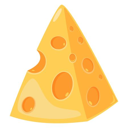 Cheese slice isolated on a white background. Vector cartoon illustration.