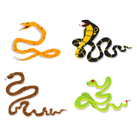 Toxic snake cartoon vector set on a white background. Flat style. Иллюстрация