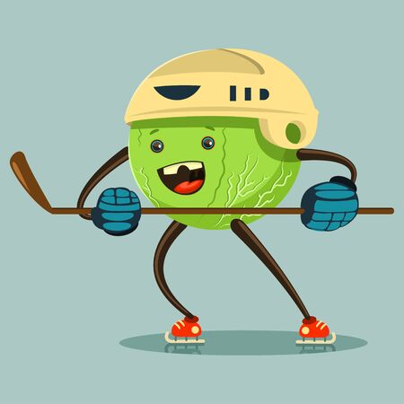 Cute Cabbage cartoon character on skates in helmet and with stick engaged hockey. Illustration of winter sport and eating healthy. Vector flat funny vegetable icon with emotion isolated on background.