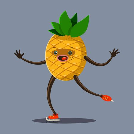 Cute Pineapple cartoon character skating on ice rink. Illustration of winter sport and eating healthy. Vector flat funny fruit icon with emotion isolated on background.
