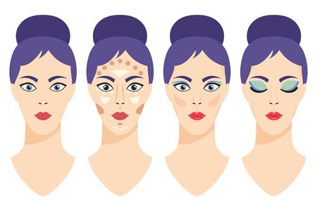 Step by step glamor makeup applying. Girl face before and after applying makeup for skin, eyes and lips. Vector cartoon flat illustration of a woman head isolated on white background.
