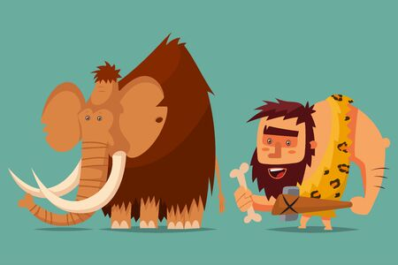 Mammoth and caveman with a stone age weapon in his hand. Vector cartoon illustration of a primitive Neanderthal man hunting for a prehistoric animal.  イラスト・ベクター素材
