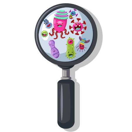 Bacteria, virus, germ under the magnifying glass. Cute monster, microbe and pathogen vector cartoon character isolated on background.  イラスト・ベクター素材