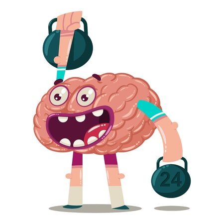 Cute cartoon brain trains with weights. Vector character of an internal organ isolated on a white background. Brainstorm illustration.