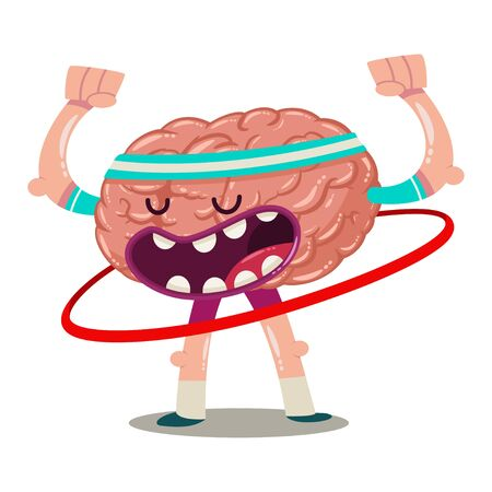 Funny cartoon brain trains with hula ring. Vector character of an internal organ isolated on a white background. Brainstorm illustration.  イラスト・ベクター素材