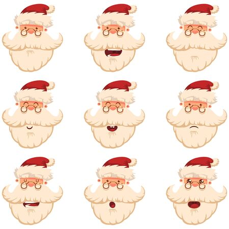 Cute Santa Claus head. Face with different funny emotions. Vector cartoon character set isolated on white background.  イラスト・ベクター素材