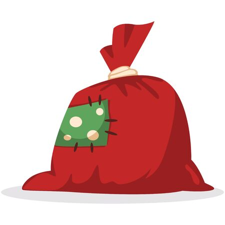 Red Christmas bag with gifts vector cartoon flat icon isolated on white background.