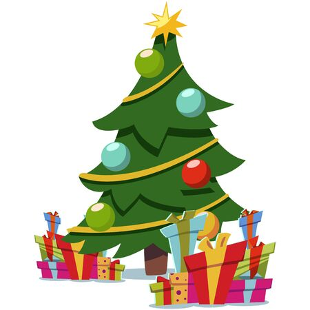 Christmas cartoon tree decorated and pile of gifts boxes. Vector flat icon isolated on white background. Ilustração