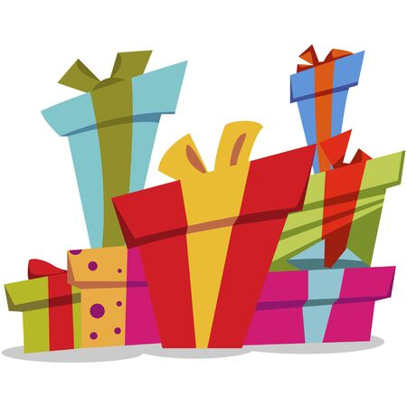 Pile of gifts boxes with bows. Vector cartoon flat icon isolated on white background.