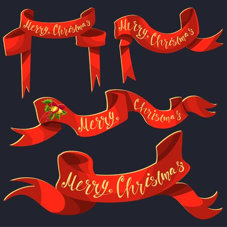 Red ribbon banner with Merry Christmas hand draw text. Vector cartoon icons set isolated on background.