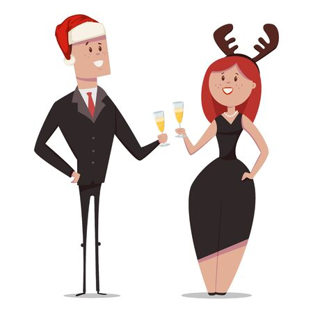 Business people in office suits with a glass of champagne celebrate Christmas. Vector cartoon characters of men in santa claus hat and women with deer horns isolated on white background. Ilustração