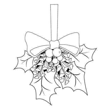 Coloring book page for adults and children. Christmas Holly berries and leaves, pine cones and a bow. Vector illustration.  イラスト・ベクター素材