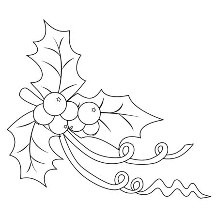 Coloring book page for adults and children. Holly berry with three leaves and a ribbon. Vector illustration. Ilustração