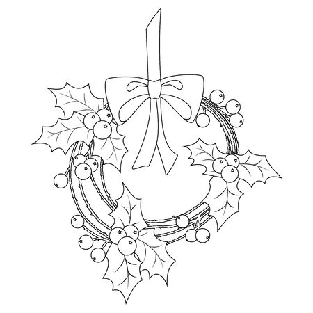 Coloring book page for adults and children. Christmas wreath of holly berry on ribbon and bow. Vector illustration.