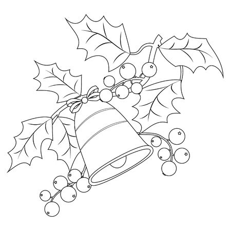 Coloring book page for adults and children. Christmas holly berry branch with bells. Vector illustration.