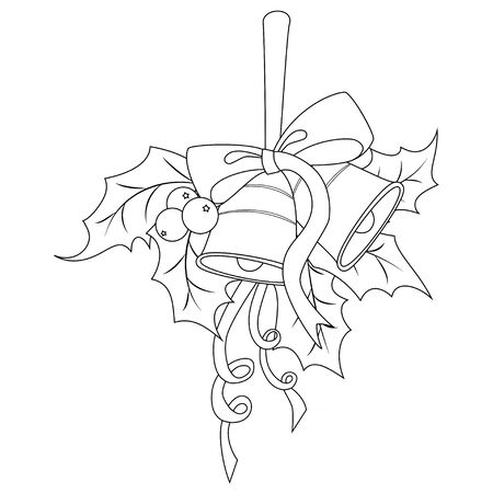 Coloring book page for adults and children. Holly berry with two bells, red bow and ribbon. Vector illustration.