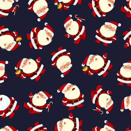 Santa Claus seamless pattern on a dark background. Vector holiday wallpaper, texture, ornament etc.  イラスト・ベクター素材