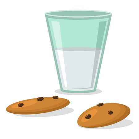 Glass with milk and cookies with chocolate. Vector icon isolated on white background.