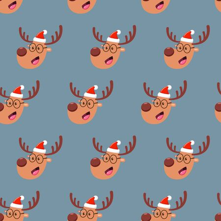 Christmas deer head vector cartoon seamless pattern. Ilustração
