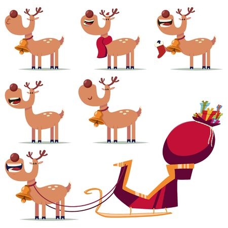 Cute Christmas reindeer vector cartoon characters set isolated on a white background.  イラスト・ベクター素材
