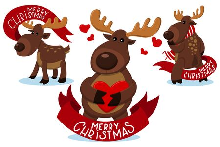 Cute Christmas reindeer characters with red ribbon banner. Funny deer vector cartoon set isolated on a white background.
