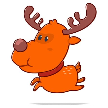 Cute Christmas reindeer. Vector cartoon flat deer character isolated on a white background.