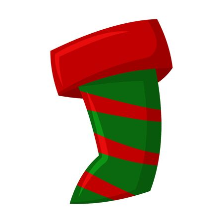 Christmas stocking for gifts. Vector cartoon icon isolated on white background.