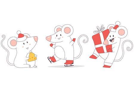 Christmas rats cute characters set. Vector cartoon New Year mouse isolated on a white background. Ilustracja