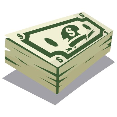 Dollar pack icon. Big money concept vector cartoon illustration isolated on white background.