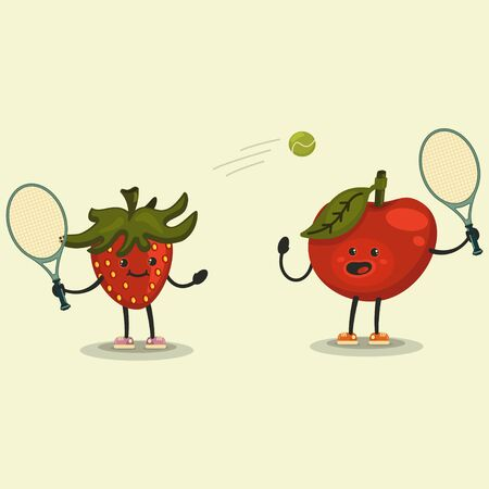 Cute Apple and Strawberry cartoon character playing tennis. Eating healthy and fitness. Flat retro style illustration concept. Ilustração