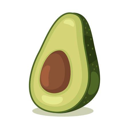 Avocado fruit. Cartoon vector icon isolated on white background. Ilustração