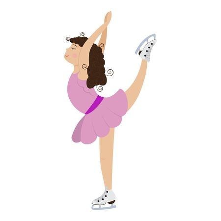 Cute cartoon little girl in pink dress on ice skating. Vector illustration on a white background.