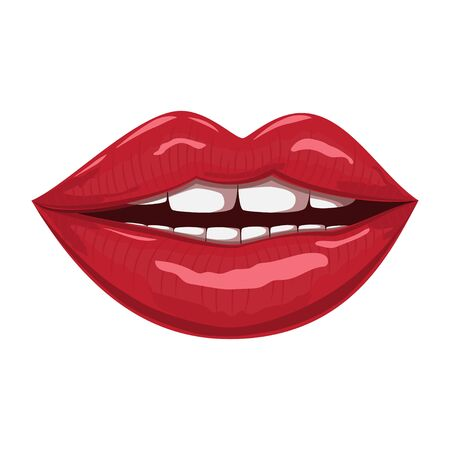 Red lips. Vector cartoon illustration isolated on a white background. Ilustração